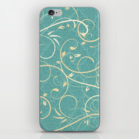 Teal Damask Pattern with Cream Swirls iPhone & iPod Skin by Doodle's Designs