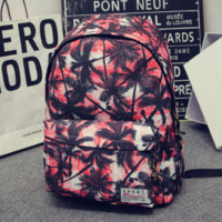 Red Purple Palm Tree Printed Canvas Backpack