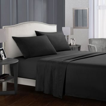 Cool Bed sheet Set Brief Bed Linens Flat Sheet+Fitted Sheet+Pillowcase Queen/ King Size black Soft comfortable white Bed setAT_93_12