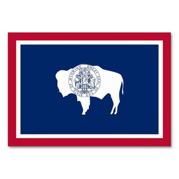 Patriotic table card with Flag of Wyoming