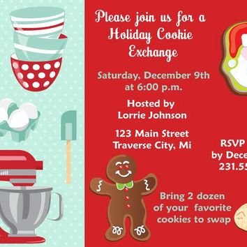 Cookie Swap Christmas Invitations
