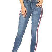 Side Stripe High Rise Jeans