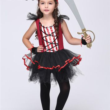 MOONIGHT Girl Pirate Cosplay Costumes Halloween Stage Performance Child Costumes Vestido Tutu Dress Kids Carnival Party Outfit