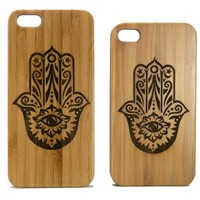Hamsa Hand iPhone 5 5S Bamboo Case. Hand of Fatima Symbol. Protection from evil eye. Eco-Friendly Wood Cover Skin. Yoga Spirituality Zen.