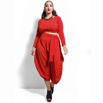 Red Long Sleeve Cropped Top and Harem Pants
