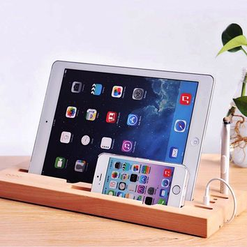 Wooden Gadget Stand with Touch Screen Pen, Tablet, iPhone, iPad Stand