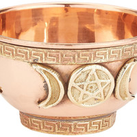 Triple Moon Pentacle Copper Offering Bowl
