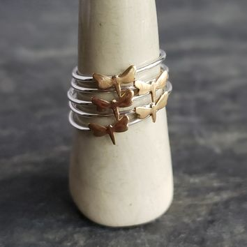 Silver Stacking Ring with Copper Dragonfly