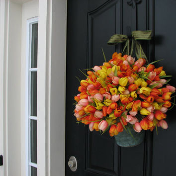 SPRING SALE Spring Tulips - Bucket of Spring Tulips - Front Door Wreath
