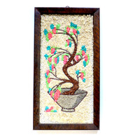 Vintage Gravel Art, Mosaic Wall Hanging, Bonsai Tree, Pink Turquoise, Sand Art, Mosette, Crushed Marble