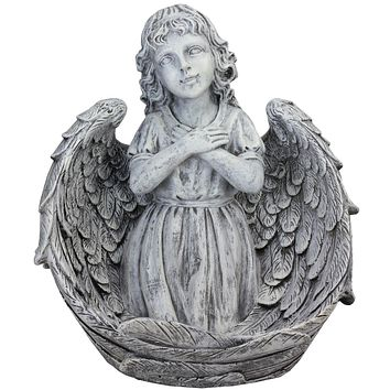 "16"" Decorative Angel Child Wrapped in Wings Religious Outdoor Garden Statue"