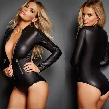 Long Sleeve Solid Black Sexy Zipper Bodycon Bandage PU Jumpsuit Women Romper