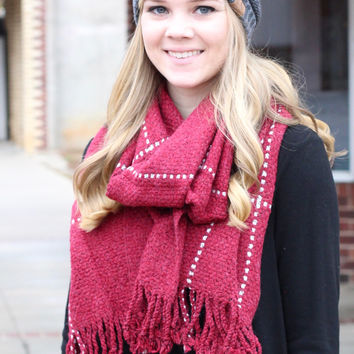 Thick + Cozy Frayed Tassel Edge Scarf {Red Mix}