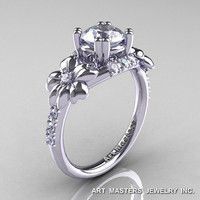Nature Inspired 14K White Gold 1.0 Ct Russian CZ Diamond Leaf and Vine Engagement Ring R245-14KWGDCZ