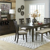 Home Elegance 5496-78 6 pc Makah collection dark brown finish wood dining table set