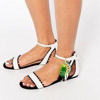 Miss KG Felicity Black & White Fruit Charm Flat Sandals