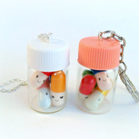 Happy Pills Bottle, Necklace or Keychain, Message Pills, Screw Cap, Cute And Kawaii :D
