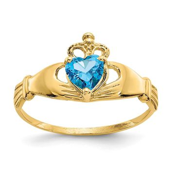 14K Yellow Gold CZ December Birthstone Claddagh Heart Ring