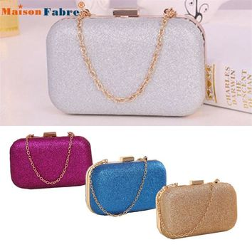 High quality Fashion Women Clutch Box Evening Party Glitter Chain Hand Bags Wallet
