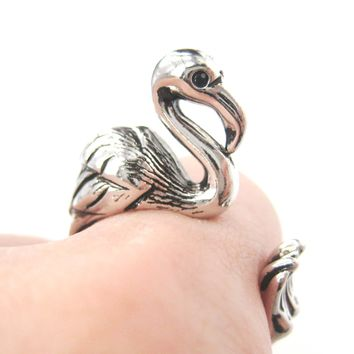 Flamingo Bird Shaped Animal Wrap Around Ring in Shiny Silver | Sizes 4 to 9 Available