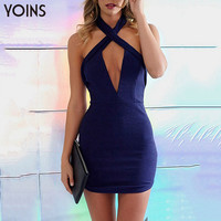 YOINS New 2016 Women Sexy Plunge Halter Neck Crossed Front Backless Mini Party Dress Fashion Zip Back Bodycon Dress Clubwear