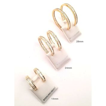 925 Sterling Silver - Hoop Earring with Cubic Zirconia