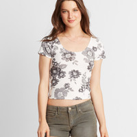 Prince & Fox Large Floral Bodycon Cropped Top