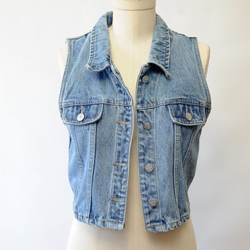 Vintage 90's Cropped Denim Vest