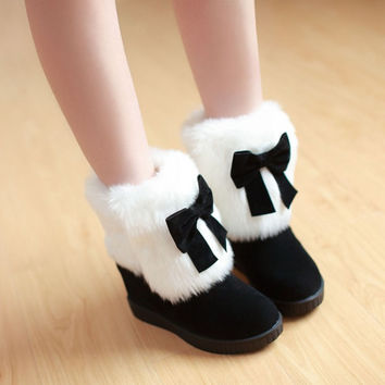 Women Snow Boots Wedges Platform Bowtie Fur Winter Shoes Woman 2016 3518