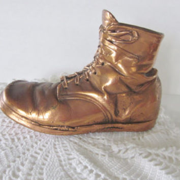 Vintage Bronzed Childs Shoe, Bronze Baby Shoe, Paperweight or Pencil Holder, Preserved Baby Shoe, Weird Gift