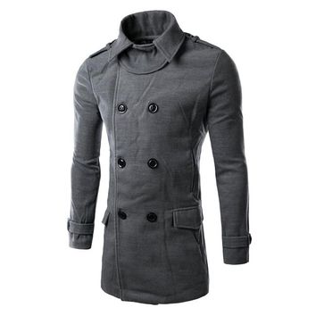 Modern mens jacket parka trench coat full length double breast slim fit