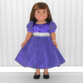 18 inch Doll Clothes Purple Polka Dots Party Dress with Flowers and Pearl Necklace and Bracelet  American Doll Clothes