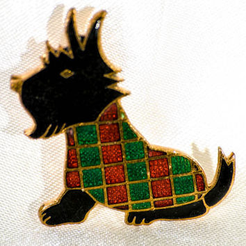 Christmas costume brooch; Stratton gilt and enamel scottie dog pin with festive jacket