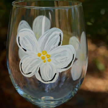 White Flowers Wine Glass -  Hand Painted Wine Glass
