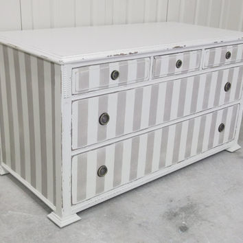 Shabby White/Khaki Stripe 1920's Low-Profile Dresser / Chest - Chic DR802