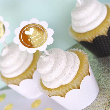 Personalized Metallic Foil Cupcake Wrappers & Cupcake Toppers (Set of 24) - Wedding