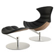 Space Age Black Leather Lounge Chair and Ottoman Set