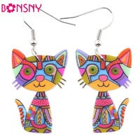 Bonsny Drop Cat Acrylic Earrings Big Long Dangle Earring 2016 Fashion Jewelry For Women Girl New Style Cute Animal Accessories