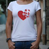Puzzle Heart, Red Heart, T-shirt, Slim Fit T-Shirt, Broken Puzzle Heart, Gift for Her, Women T Shirt, Design T-shirt,  Funny T Shirt, Heart
