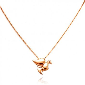 "TIONEER® Dainty Dove Bird Rose Gold Plated Sterling Silver Charm Necklace with 16""+2"""