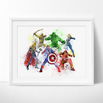 Avengers Age of Ultron,  Superhero Poster, Watercolor, Art Print, Watercolor Superhero, Avengers Wall Art, Movie Poster  - 193