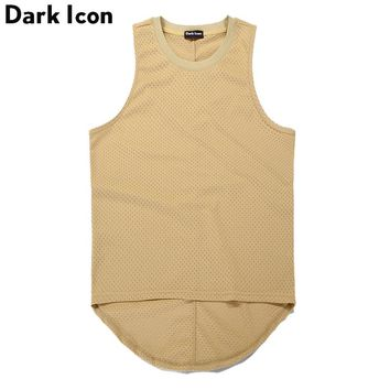 Mesh Material Front Short Back Long Hip Hop Tank Top Summer Solid Color Men's Tank Top 4 Colors