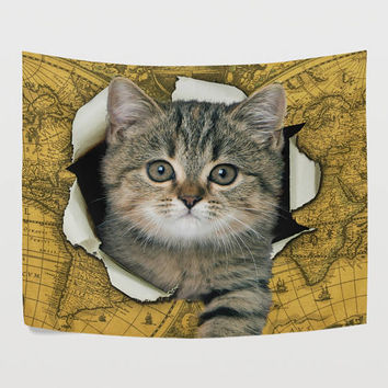Funny Cute Kitten Vintage World Map Tapestry Little Cat Retro Global Map Wall Hanging Art for Living Room Bedroom Dorm