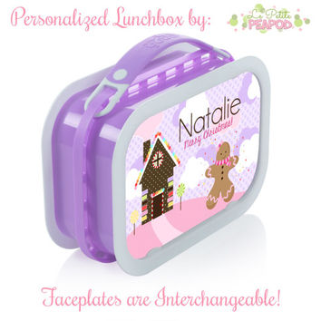 Gingerbread Lunchbox - Personalized Lunchbox with Interchangeable Faceplates - Double-Sided  Pink & Purple Christmas Gingerbread Lunchbox