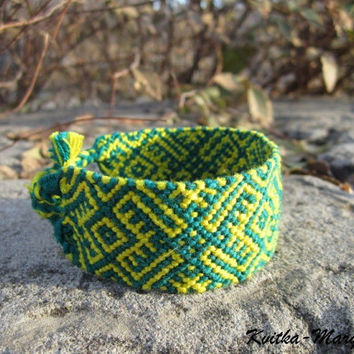 Custom colors wide friendship bracelet. Slavic pattern. Nord pattern. Best friend gift. Boyfriend gift. Girlfriend gift. woven.