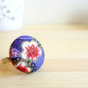 Plum Ring, Japanese plum blossom red purple cotton, covered button adjustable ring - MANGETSU -