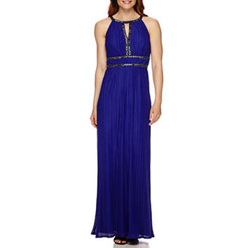 Melrose Sleeveless Keyhole Beaded Pleat Gown