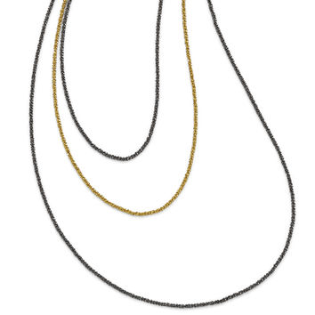 Leslie's Sterling Silver Ruthenium & Gold-plated 3 Strand Necklace QLF355
