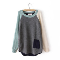Grey Contrast Long Sleeve Pocket Loose Sweater from chiccasesandhomeproducts