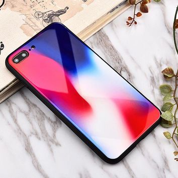 Colorful pattern Glass texture mobile phone case for iPhone X 7 7plus 8 8plus iPhone6 6s plus -171212